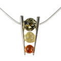 "Sterling Silver and Baltic Multicolored Amber Necklace ""Camelia"""