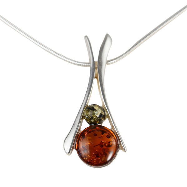"Sterling Silver Baltic Honey and Green Baltic Amber Necklace ""Beatrix"""