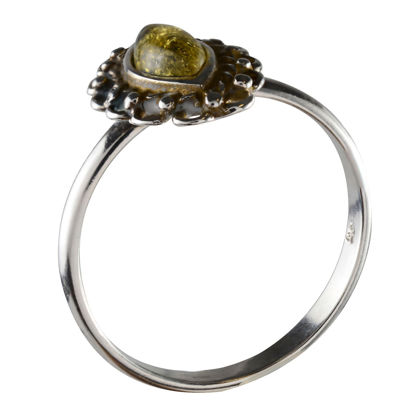 """Sterling Silver and Green Baltic Amber Ring """"Joan"""""""