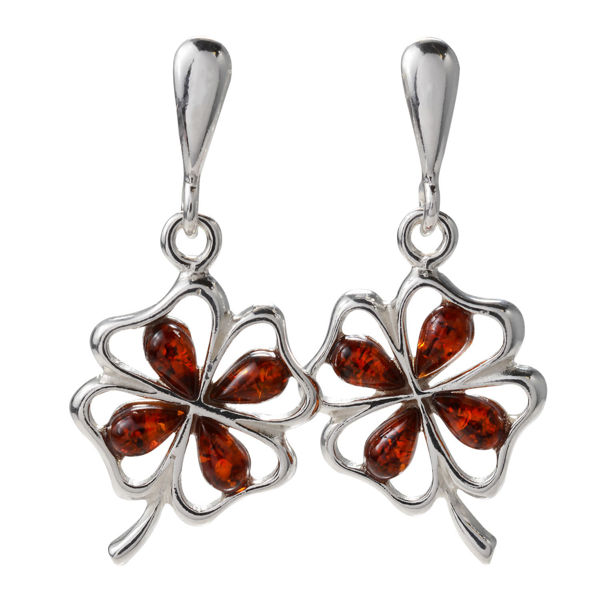 Sterling Silver and Baltic Amber Post Back Honey Amber Shamrock Earrings