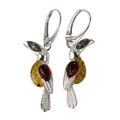 Sterling Silver and Baltic Amber French Leverback  Toucan Earrings