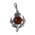 Sterling Silver and Baltic Honey Amber Burdock Pendant