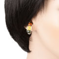 "Sterling Silver and Baltic Multicolored Amber Earrings ""Mila"""