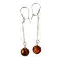 "Sterling Silver Baltic Honey Amber Kidney Hook Earrings ""Constance"""