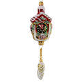 """Christmas Clock with Pine Cones "" Hand-Painted Glass Christmas Ornament"
