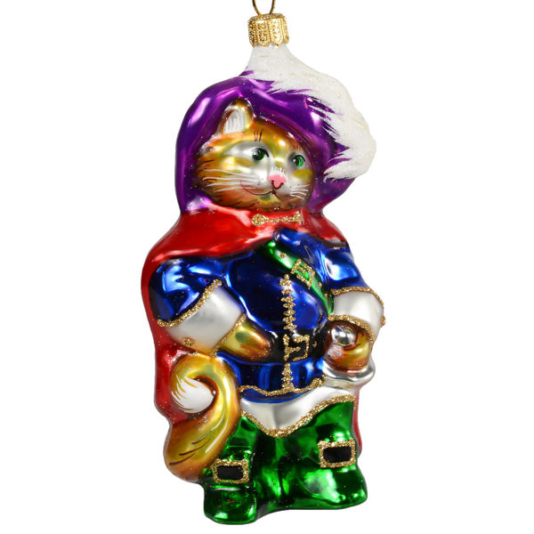 Puss In Boots Hand-Painted Glass Christmas Ornament