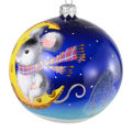 """""""Mouse On a Crescent Cheese Moon"""" Hand-Painted Glass Christmas Ornament"""