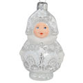 """See-Through Snow Maiden"" Hand-Painted Glass Christmas Ornament"