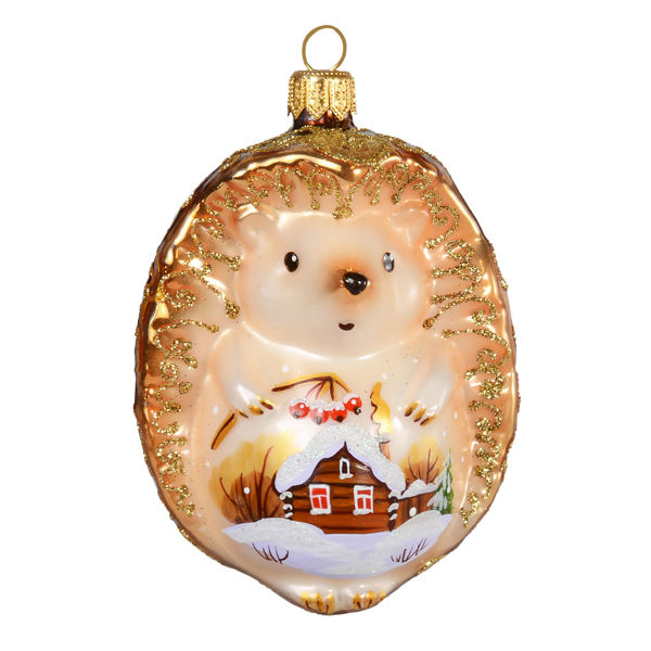 """Hand Made Glass Christmas Ornament """"Hedgehog"""""""
