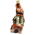 """"""" Bunny With A Contrabass"""" Hand-Painted Glass Christmas Ornament"""