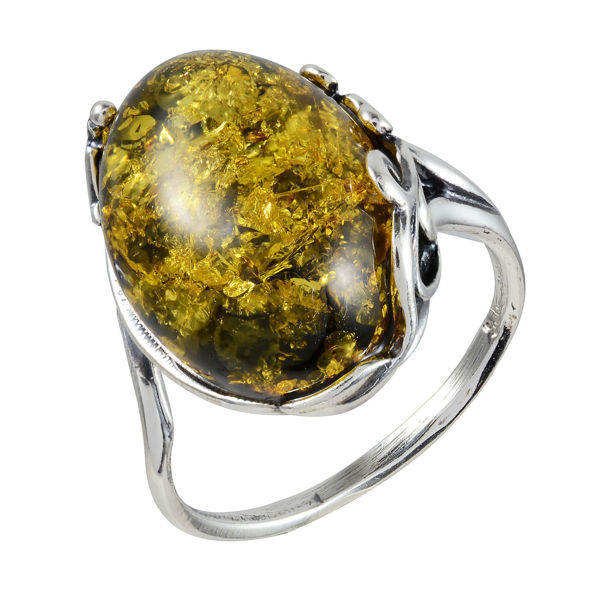 "Sterling Silver and Baltic Green Amber Ring ""Dana"""