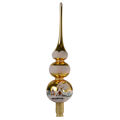 """"""" Old Town Christmas"""" Gold Glass Christmas Tree Topper"""