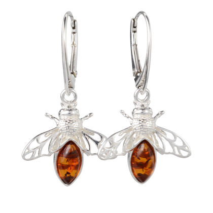 "Sterling Silver and Baltic Honey Amber French Leverback Earrings ""Bumble Bee"" (small)"