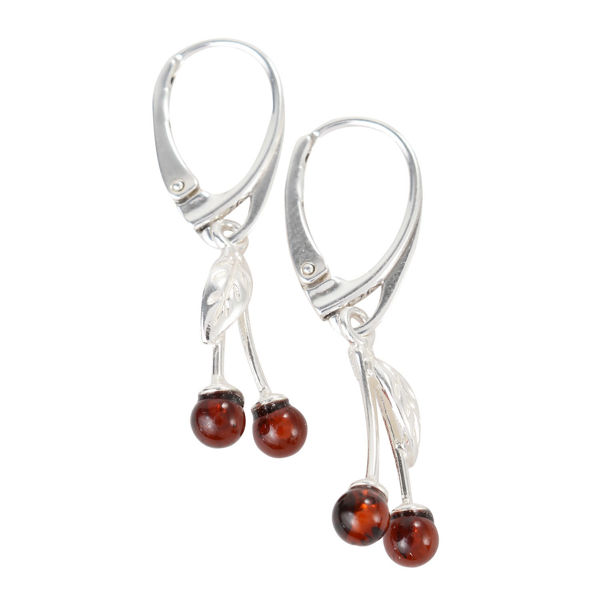 Sterling Silver and Baltic  French Leverback  Amber Cherry Earrings