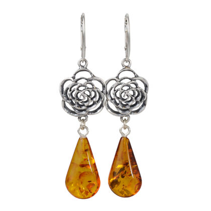 Sterling Silver Vintage Style French Leverback Baltic Amber Rose Earrings