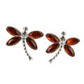 Sterling Silver and Baltic Honey Amber Post Back Dragonfly Earrings