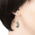 "Sterling Silver and Baltic Green Amber Earrings ""Penelope"""