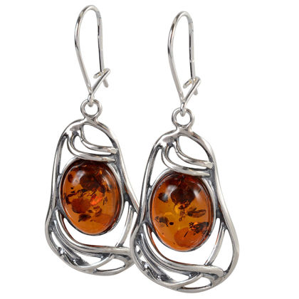 "Sterling Silver and Baltic Honey Amber Kidney Hook Earrings ""Mary"" (large)"