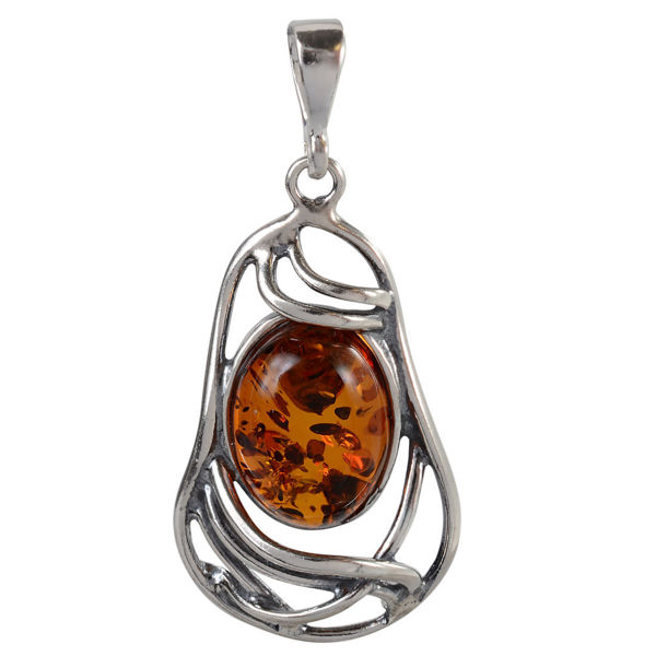 "Sterling Silver and Baltic  Honey  Amber Pendant ""Mary"""
