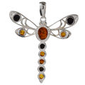 Sterling Silver and Baltic Amber Dragonfly Pendant