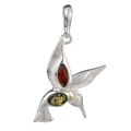 "Sterling Silver Baltic Green and Honey Amber Pendant ""Hummingbird"""