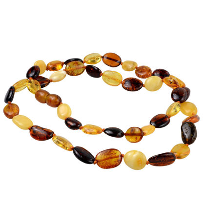 Multicolored Flat Olive Baltic Amber Necklace