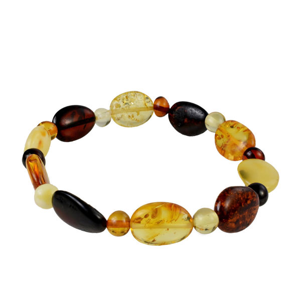 "Multicolored Polished Baltic Amber Bracelet ""Iris"""
