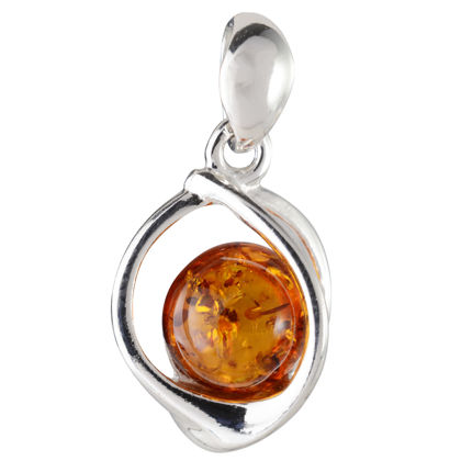 """Sterling Silver and Baltic Honey Amber Pendant """"Mona"""""""