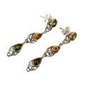 "Sterling Silver and Baltic Multicolored Amber Earrings ""Gloria"""
