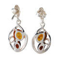 "Sterling Silver and Baltic Honey Amber Dangling Earrings ""Noreen"""