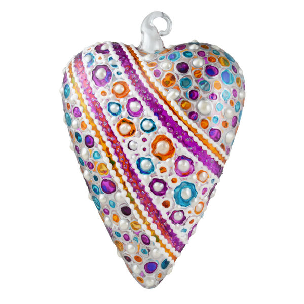 """Joy"" Glass Multicolored Heart Hand Painted Christmas Ornament. Limited edition."