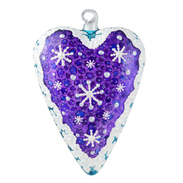 """""""Snowflakes"""" Glass Purple Heart Hand Painted Christmas Ornament. Limited edition."""