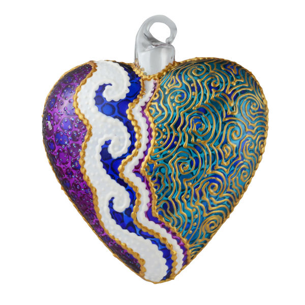 """Wave"" Glass Multicolored Heart Hand Painted Christmas Ornament. Limited edition."