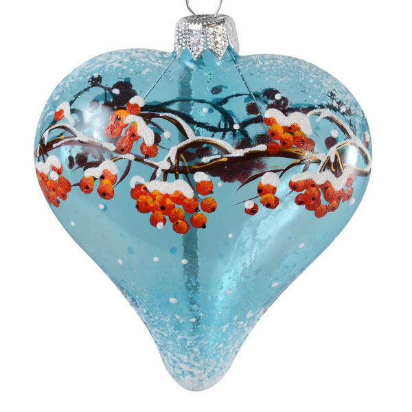 """Winter Rowan Heart "" Glass Heart Hand Painted Christmas Ornament."