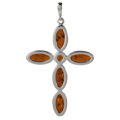 Sterling Silver and Baltic Amber Cross Pendant  (Large)