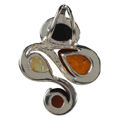 "Sterling Silver and Baltic Multicolored Amber Pendant ""Elaine"""