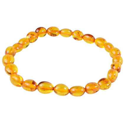 Baltic Amber Polished Oval Beads Bracelet