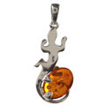 Sterling Silver and Baltic Honey Amber Lizard Pendant