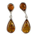 "Sterling Silver and Baltic Honey Amber Earrings ""Shannon"""