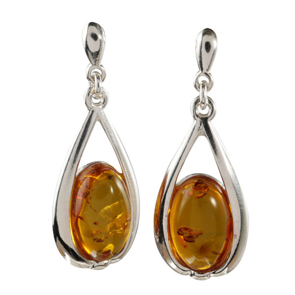 "Sterling Silver and Baltic Honey Amber Earrings ""Gabby"""