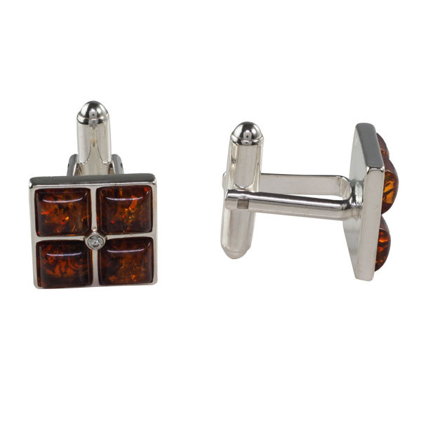 Sterling Silver and Baltic Honey Amber Square Cufflinks