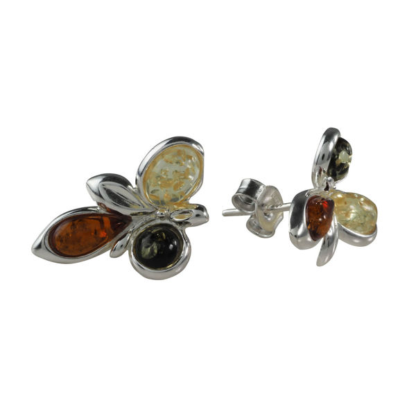 "Sterling Silver and Baltic Multicolored Stud Amber Earrings ""Mariana"""