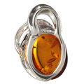 """Beaming Sun"" Sterling Silver and Baltic Amber Pendant"