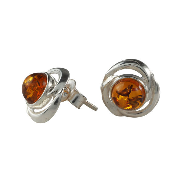 "Sterling Silver and Baltic Honey Amber Earrings ""Molly"""