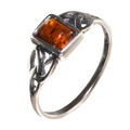 Sterling Silver and Baltic Honey Rectangle Celtic Amber Ring