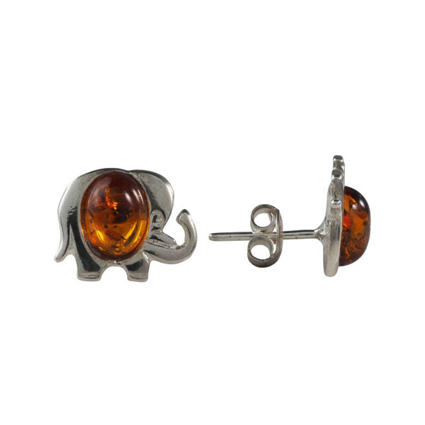 """Sterling Silver and Baltic Honey Amber Earrings """"Elephant"""""""