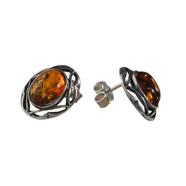 "Sterling Silver and Baltic Honey Amber Earrings ""Leah"""