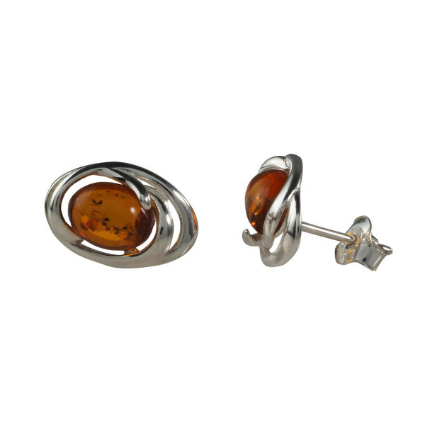 Sterling Silver and Baltic Honey Amber Stud Earrings