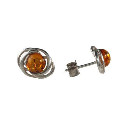 "Sterling Silver and Baltic Honey Amber Stud Earrings ""Nova"""