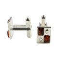 Sterling Silver and Baltic Honey Amber Rectangle Ace Of Spades Cufflinks
